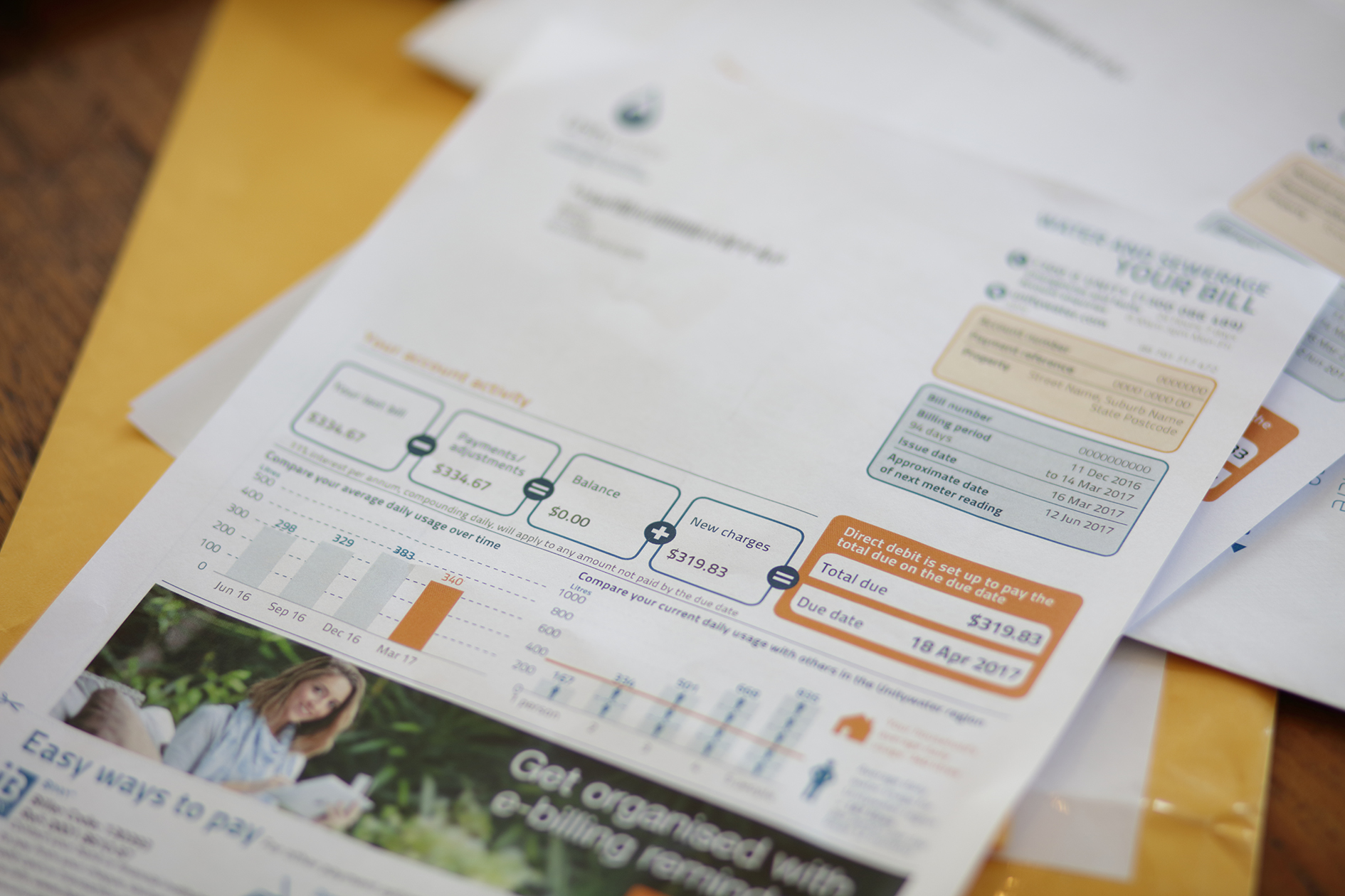 Unitywater bill lying on desk in pile of papers