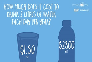 How much does it cost to drink 2 litres of water each day per year?