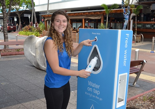 Permanent water refill station on Ocean Street Mooloolaba