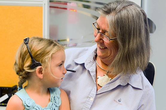 Unitywater staff member with her granddaughter
