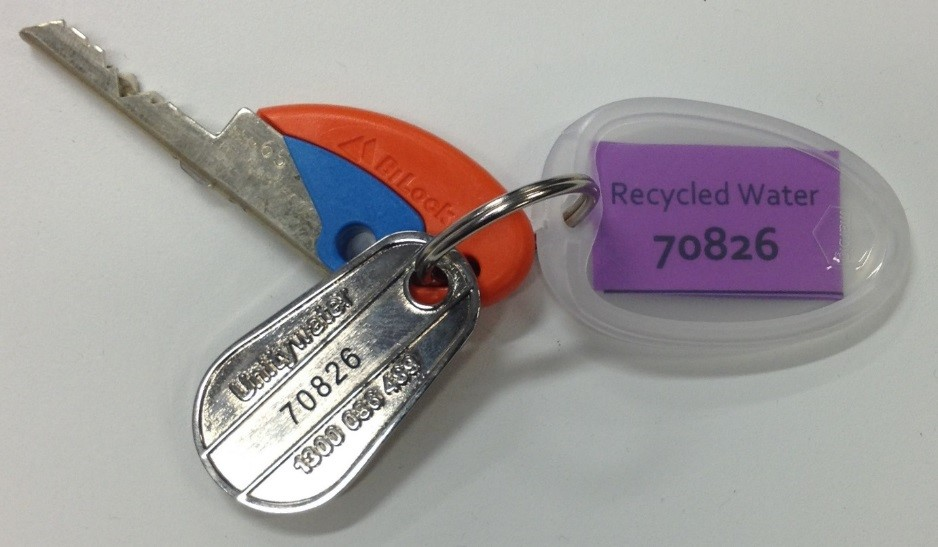 Recycled water access key tag