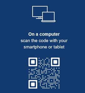 On a computer scan the code with your smartphone or tablet