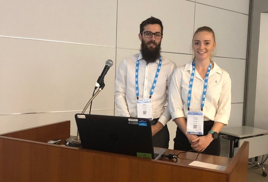 Aaron O'Connell and Angelique Van Walle presented their graduate project at the International Water Association's World Water Congress in Tokyo
