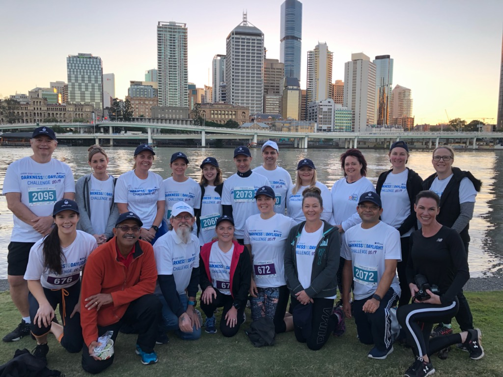 Unitywater team participate in Darkness to Daylight event to raise awareness of domestic violence.