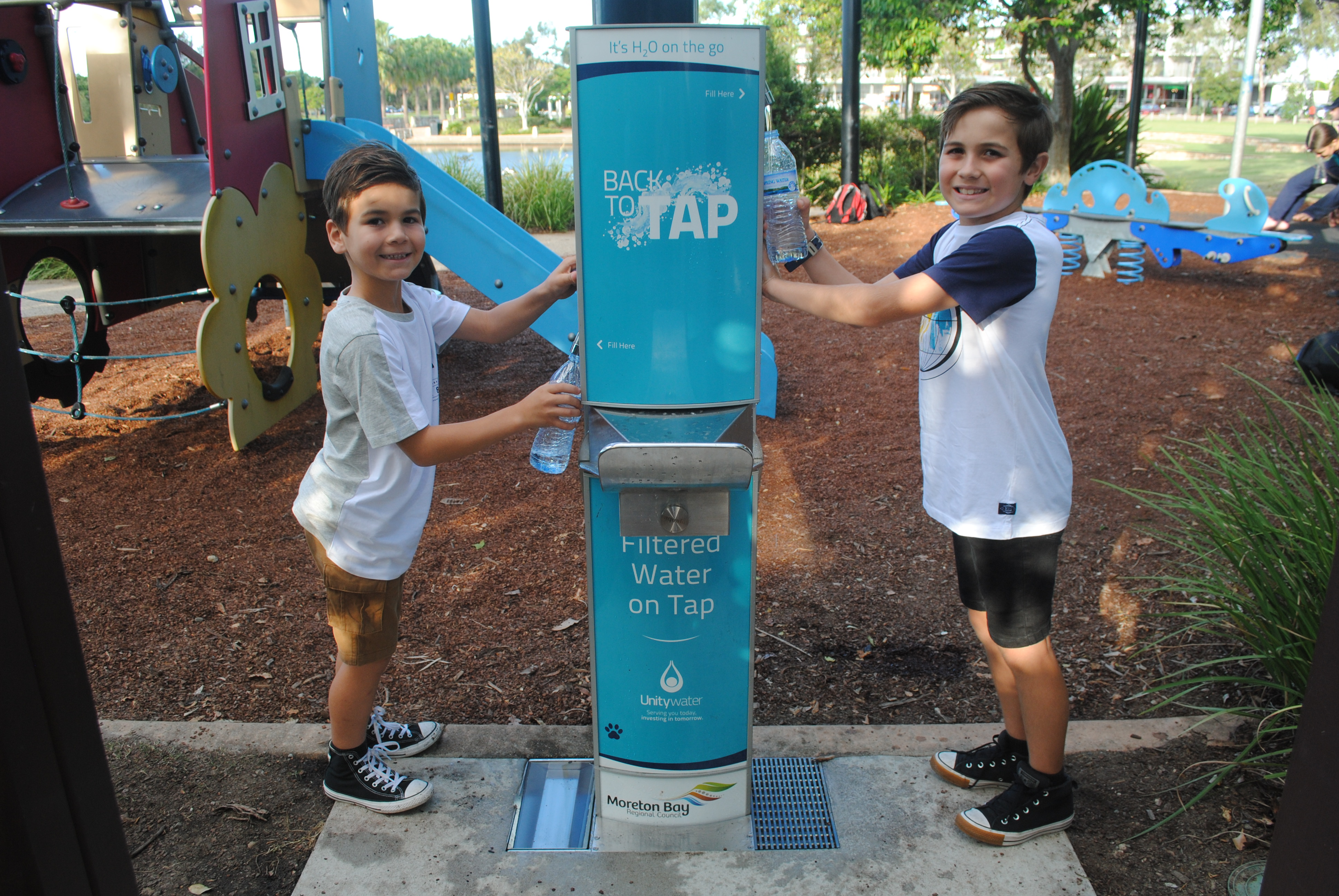 Permanent water refill station at Lake Eden Park, North Lakes