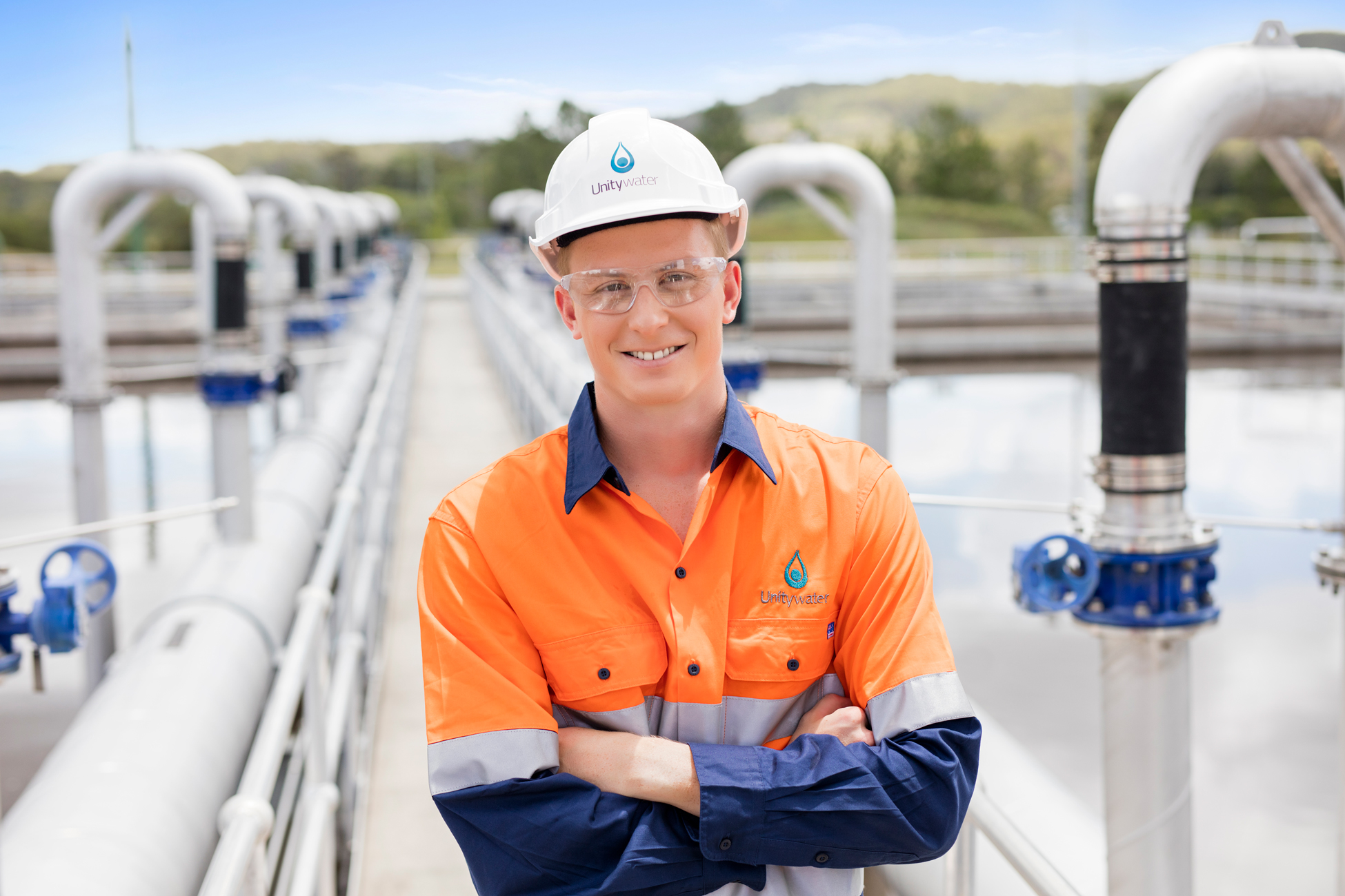 Male engineer at Unitywater Sewage Treatment Plant, Nambour