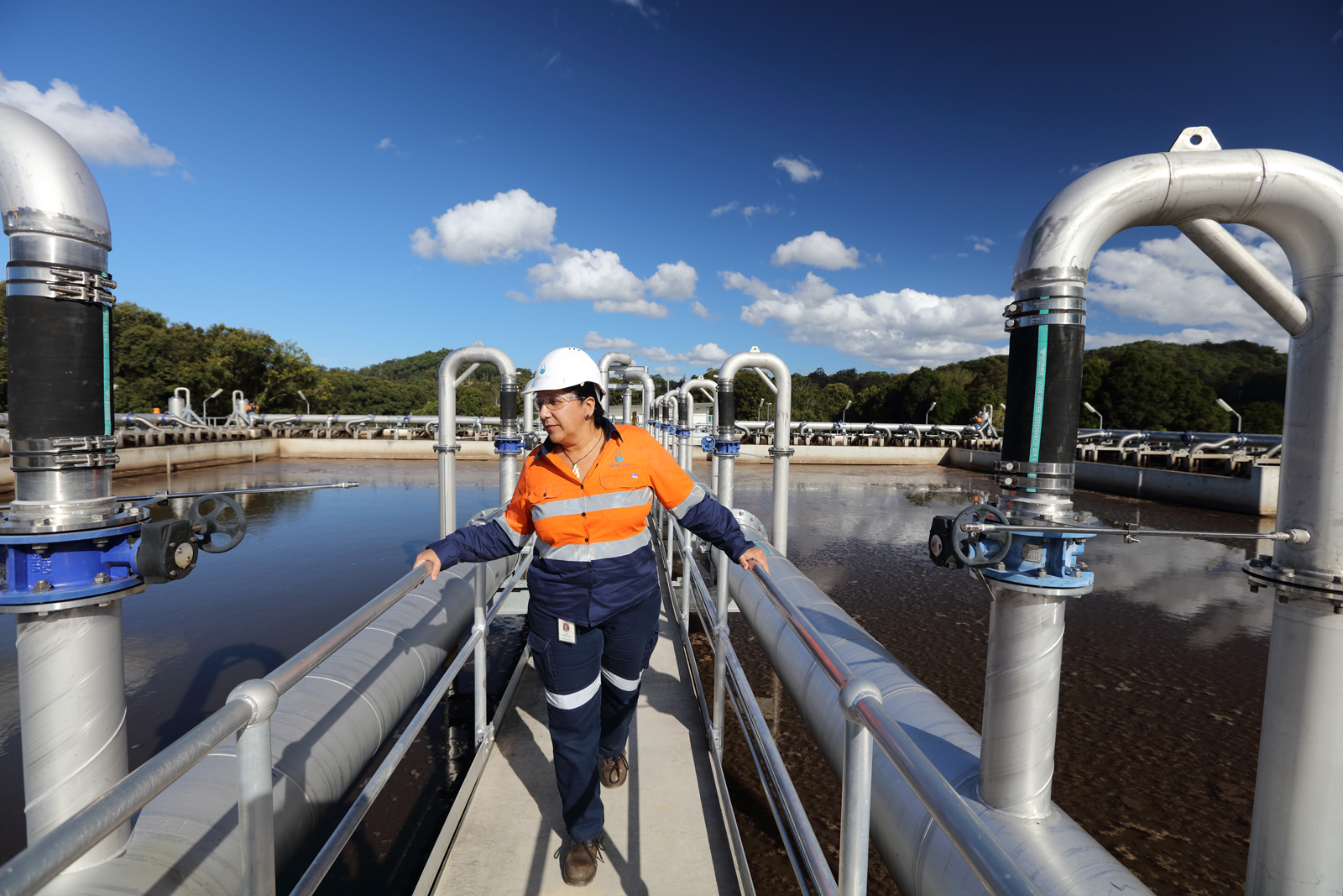 Female engineer at Unitywater Sewage Treatment Plant, Nambour