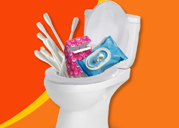 Don't block up your toilet with cotton buds, tampons and wet wipes