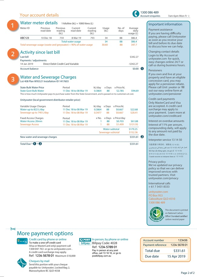 Residential quarterly bill page 2
