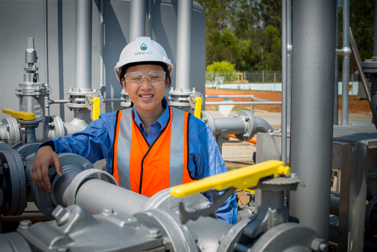 Unitywater female engineer at sewage treatment plant
