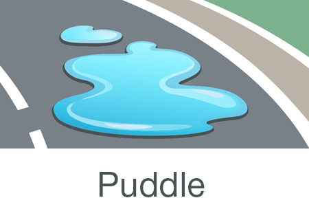Puddle of water leak diagram