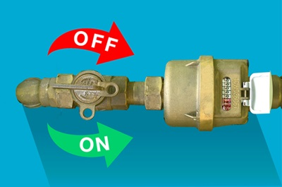 Image of water meter show how to turn stop tap lever handle on and off